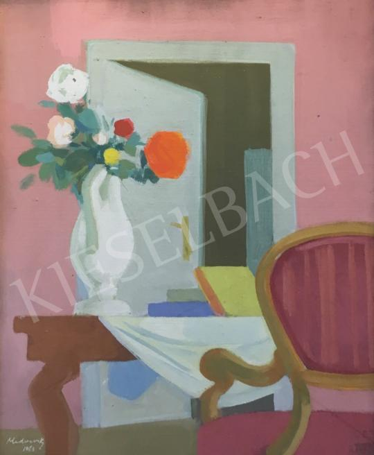 Eladó Medveczky Jenő - Csendélet virágcsokorral és enteriőrrel, 1963 festménye