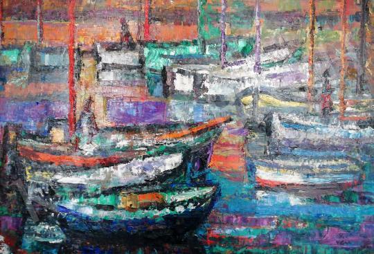 Vén Emil - Bárkák a vízen festménye