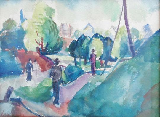 Eladó  Kmetty János - Városkép emberekkel festménye