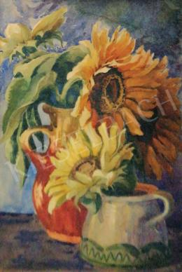 Vörös, Géza - Still Life with Sunflowers