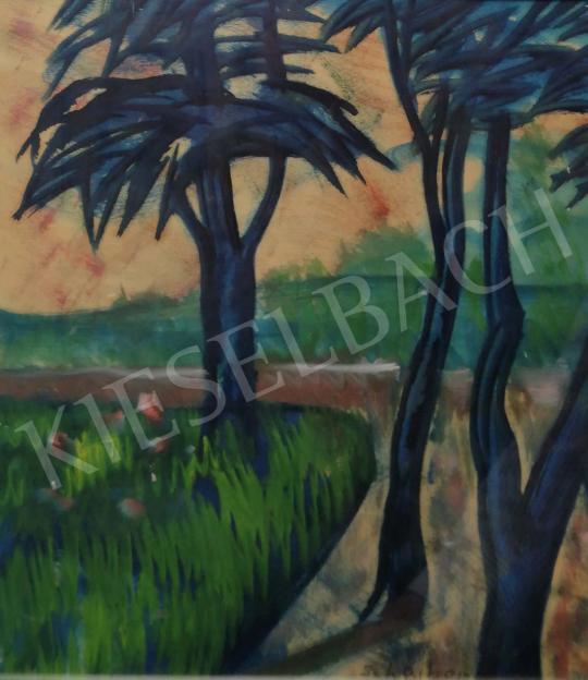 Scheiber Hugó - Tájkép fákkal festménye