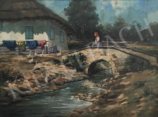 Eladó Neogrády László - Falusi leányka libákkal festménye