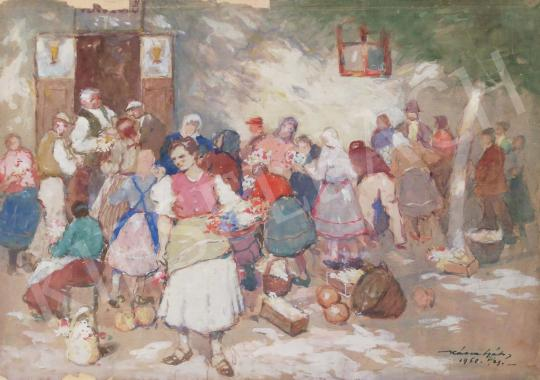 For sale  Kássa, Gábor - In Market Place, 1950 's painting
