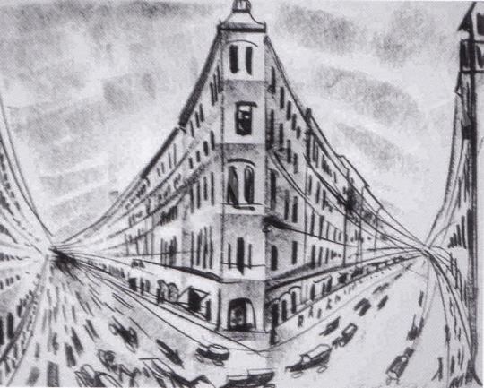 Molnár C. Pál - Utca részlet festménye