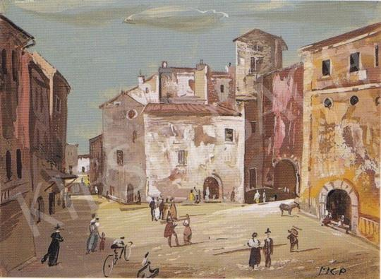 Molnár C., Pál - Main square of an Italian town painting
