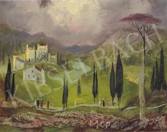 Molnár C. Pál - Toszkánai táj festménye