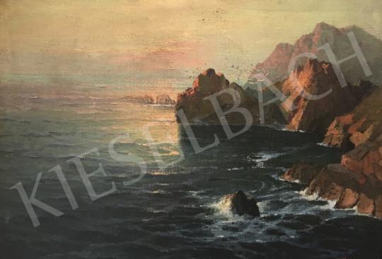 Eladó  Ismeretlen festő Korotovszki jelzéssel - Tengerparti látkép sziklával és alkonyati fényekkel festménye