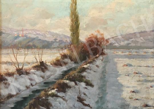 Zombori Moldován Béla - Téli táj patakkal festménye