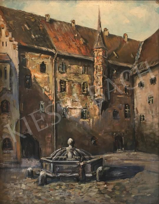 For sale Unknown Hungarian painter - Building with Yard and Fountain 's painting