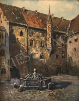 Unknown Hungarian painter - Building with Yard and Fountain