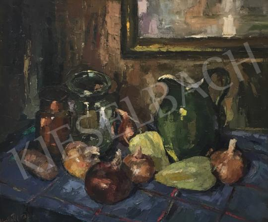 Eladó  Krisztik Béla - Csendélet kancsóval és zöldséggel festménye