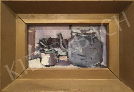 Eladó Juhos Kiss Sándor - Asztali csendélet teáskannával, 1994 festménye