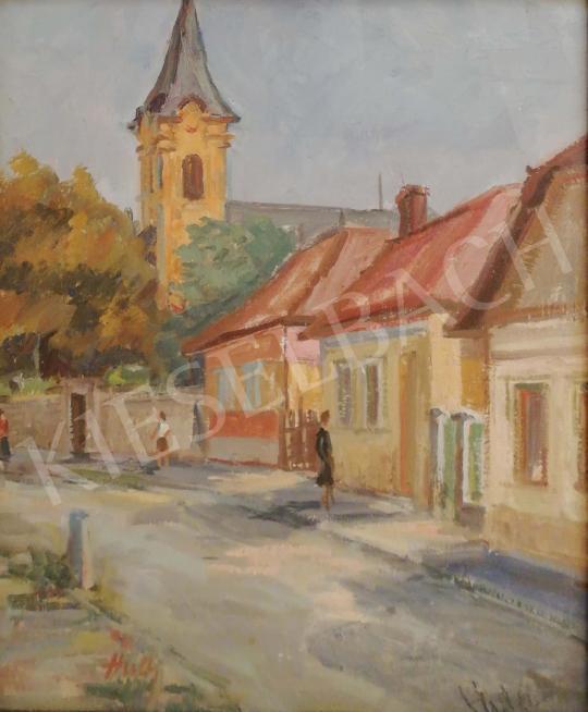 Eladó  Húth István - Utcarészlet templommal festménye