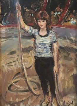 Balogh András - Fiatal artista lány a cirkuszban