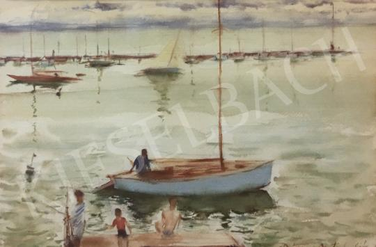 Diósy Antal - Balatoni látkép vitorlázókkal festménye