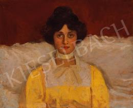 Kunffy, Lajos - Lady in Yellow Blouse (Portrait of Mrs. Kunffy)