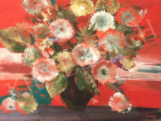 Eladó Scholz Erik - Vörös virágcsendélet margarétával festménye