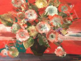 Scholz Erik - Vörös virágcsendélet margarétával