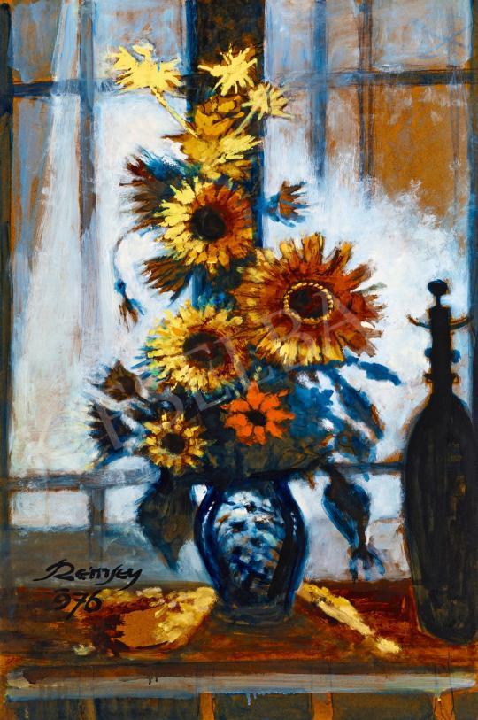 Eladó  Remsey Jenő György - Napraforgós csendélet műteremablakban festménye