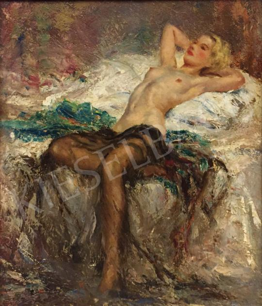 Ismeretlen festő - Női akt fekete fátyollal (Vágyakozás) festménye