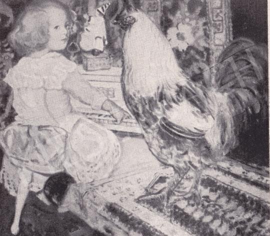 Csók István - Züzü a kakassal festménye
