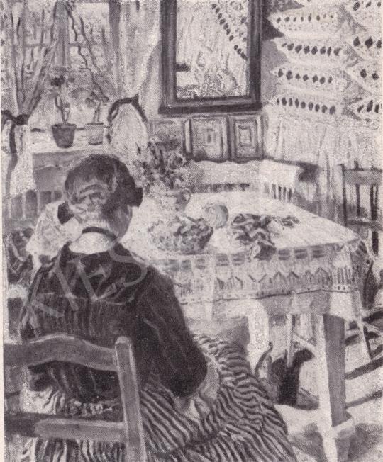 Perlmutter Izsák - Kézimunkáló lány festménye
