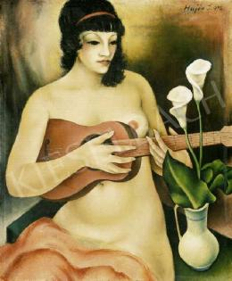Hajós, Imre László - Nude with a Guitar and a Flower
