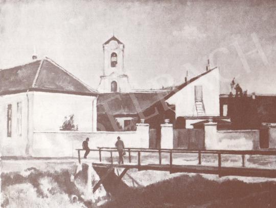Bánovszky Miklós - Szentendrei részlet kis híddal, 1951 festménye
