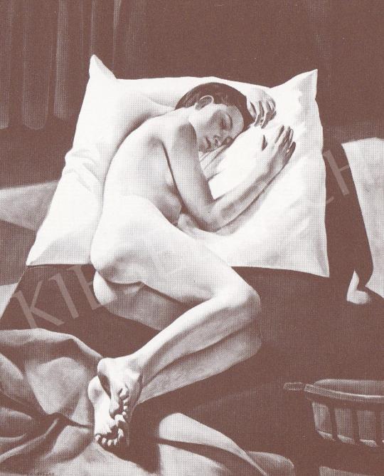 Bánovszky Miklós - Párnán fekvő női akt székkel, 1933 festménye