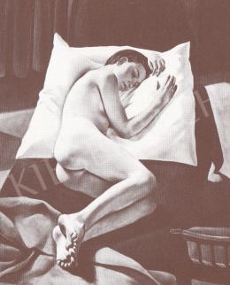 Bánovszky Miklós - Párnán fekvő női akt székkel, 1933