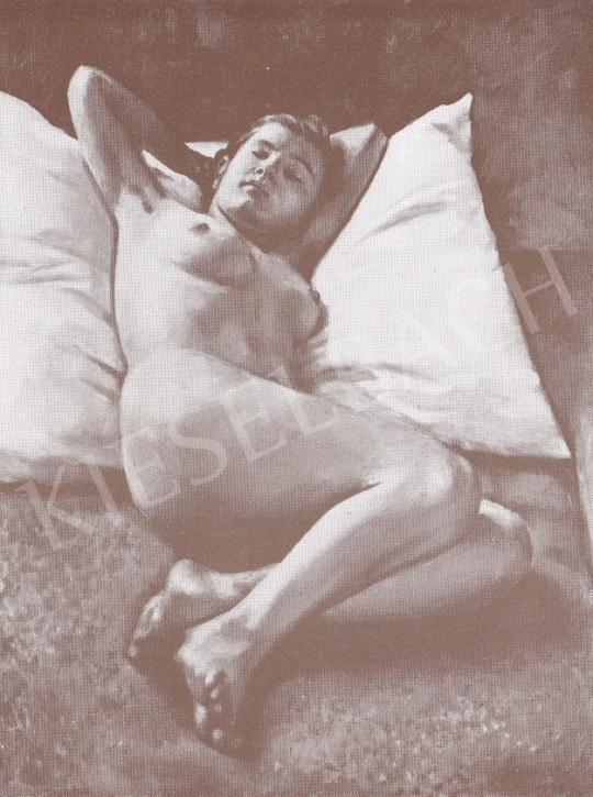 Bánovszky Miklós - Párnán alvó női akt, 1939 festménye