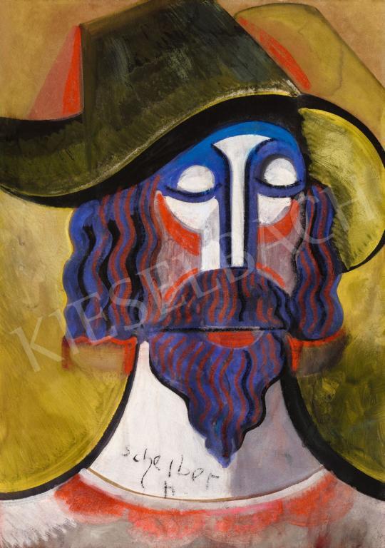 Eladó  Scheiber Hugó - Kalapos férfi festménye