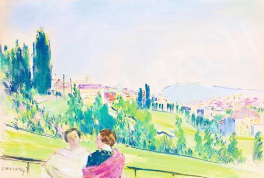 Eladó  Vaszary János - Pasarét, háttérben a Budai Vár kupolájával és a Gellért-heggyel, 1936 festménye