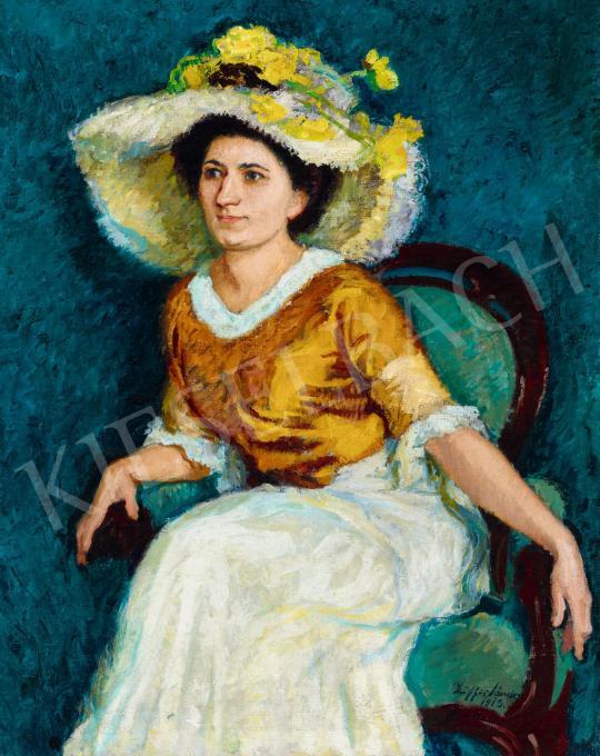 Ziffer Sándor - Hölgy virágos kalapban kék szobában, 1913 festménye