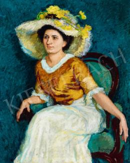 Ziffer, Sándor - Lady in a Hat with Flowers, 1913
