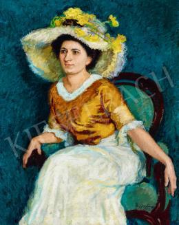 Ziffer Sándor - Hölgy virágos kalapban kék szobában, 1913