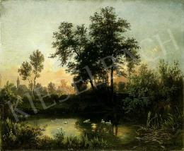 Molnár József - Naplemente vízparton (Tápióbicske)