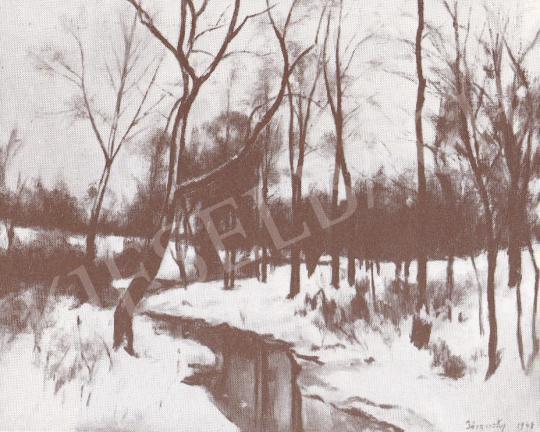 Bánovszky Miklós - Pismányi patak télen, 1948 festménye
