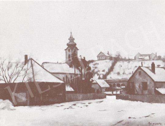 Bánovszky Miklós - Szentendrei Révész utca télen, 1980 festménye