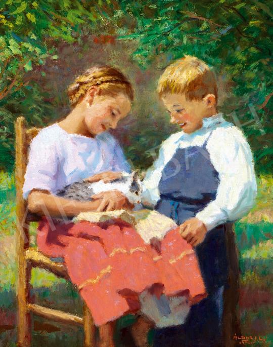 Eladó Áldor János László - Gyerekek kiscicával festménye