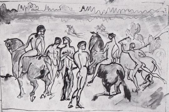 Kernstok Károly - Lovasok a vízparton, 1911 festménye