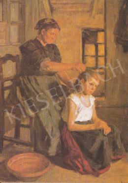 Bihari Sándor - Gyermeket fésülő asszony, 1905, részlet