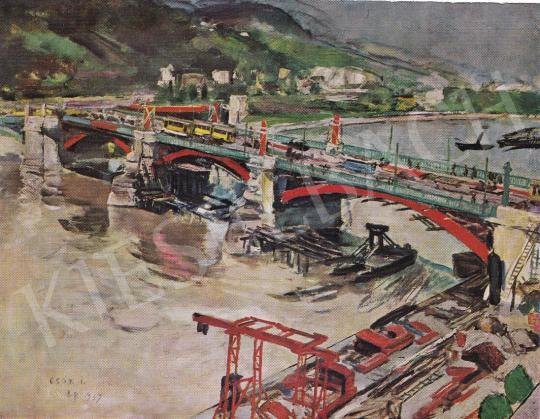 Csók István - A Margit-híd átépítése után festménye