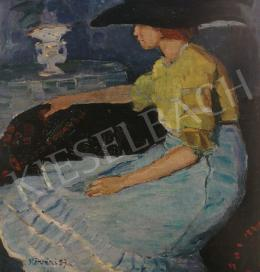 Kővári Szilárd - Nő elegáns kék ruhában, 1910