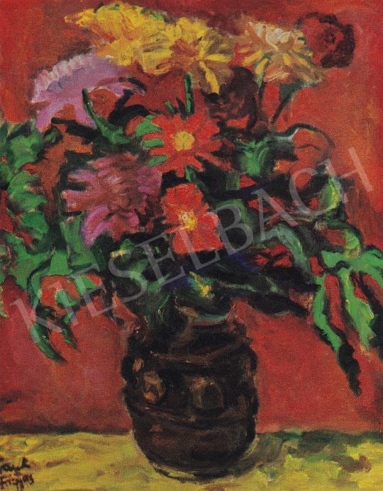 Frank Frigyes - Virágok vörös háttérben, 1960 festménye