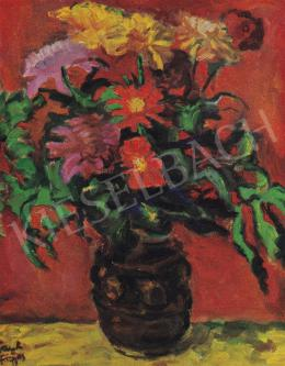 Frank Frigyes - Virágok vörös háttérben, 1960