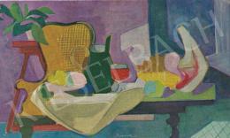 Medveczky Jenő - Vörösboros csendélet, 1950