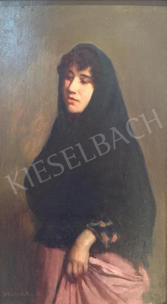 Eladó Skuteczky Döme - Lány fekete kendővel festménye