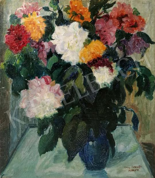 For sale Vuchetich, László (Csenei) - Flower Still-Life with Roses and Dahlias, 1928 's painting