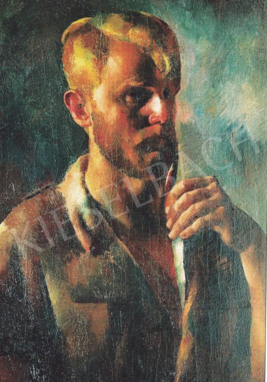 Aba-Novák, Vilmos - Self-Portrait with Pipe, 1922 painting